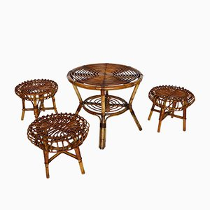 Italian Rattan Children's Table & 3 Stools, 1970s