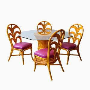 French Bamboo Garden Table & Chairs, 1980s