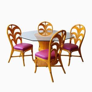 Mesa de jardín francesa de bambú con sillas, años 80