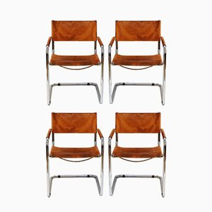 Italian Cognac Leather Armchairs by Mart Stam for Fasem, 1980s, Set of 4