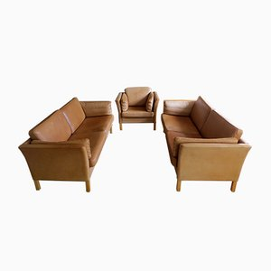 Vintage Danish Leather Sofas & Armchair Set from Mogens Hansen, 1960s