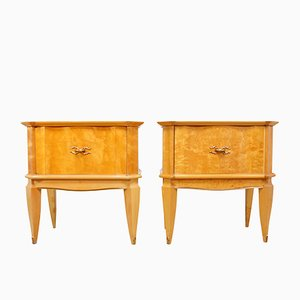 Italian Bedside Tables in Satin Birch, 1950s, Set of 2