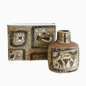Jarrones de cerámica daneses de Nils Thorsson para Royal Copenhagen, años 60. Juego de 2