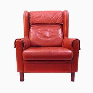 Danish Red Leather Lounge Chair, 1970s