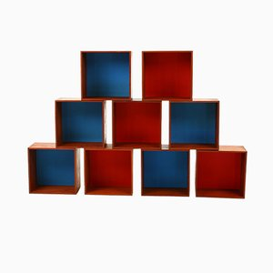 Danish Teak Boxes in Blue & Red, 1960s, Set of 9
