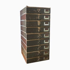 Mid-Century Leather Archive Drawers, Set of 9