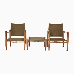 Safari Chairs and Stool in Canvas by Kaare Klint for Rud. Rasmussen, 1960s