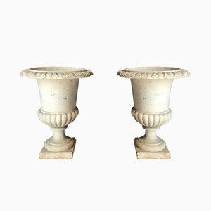 Antique Cast Iron Medici Vases, Set of 2