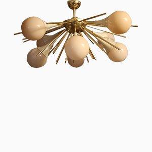 Half Sputnik Chandelier in Murano Glass and Brass, 1980s