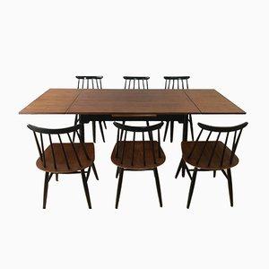 Tavolo da pranzo con sei sedie di Ilmari Tapiovaara per Asko, anni '60