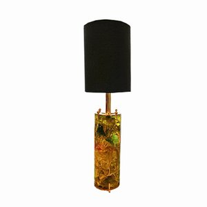 Green Fractal Resin Lamp with Brass Base, 1970s