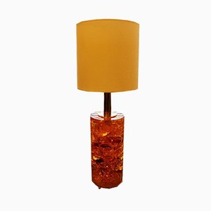 Harz Lampe in Orange & Gelb mit Messinggestell, 1970er