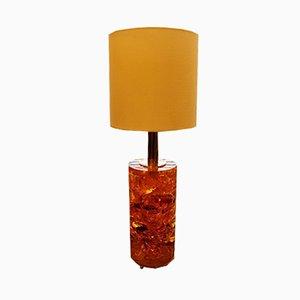 Lámpara de resina fractal amarilla y naranja con base de latón, años 60