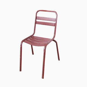 Roter Vintage Metall Bistro Beistellstuhl