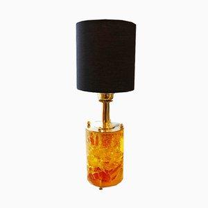 Lámpara de mesa cilíndrica de resina fractal amarilla y naranja con base de latón, años 60