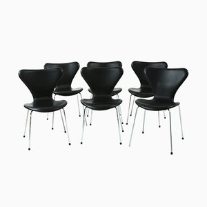 Model 3107 Leather Chairs by Arne Jacobsen for Fritz Hansen, 1980s, Set of 6