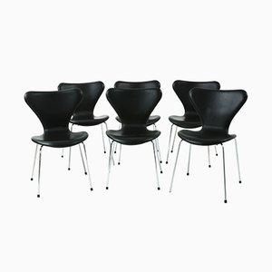 Modell 3107 Leder Stühle von Arne Jacobsen für Fritz Hansen, 1980er, 6er Set