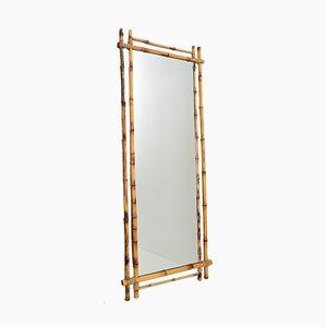 Espejo de pared italiano grande de bambú, años 60