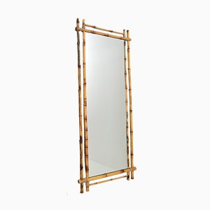 Italian Large Bamboo Wall Mirror, 1960s