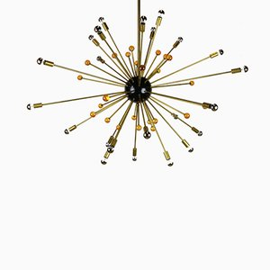 Italian Sputnik Chandelier in Black, Gold, and Orange from Stilnovo, 1950s