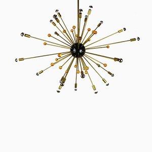 Italienischer Sputnik Kronleuchter in Schwarz, Gold und Orange von Stilnovo, 1950er