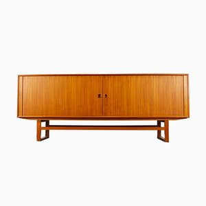 Danish Teak Sideboard with Tambour Doors by Axel Christensen for Aco Mobler, 1950s