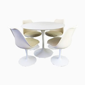 Tulip Dining Set with Marble Table by Eero Saarinen for Knoll International, 1960s