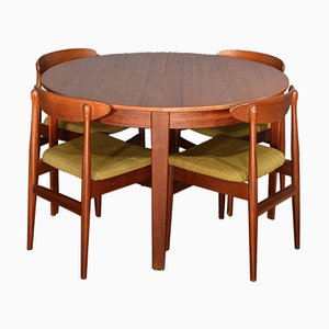 Vintage Danish Extendable Teak Table with Chairs, 1960s