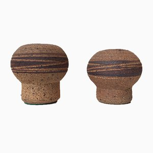 Mushroom Stoneware Vases from Jørgen Mogensen, 1960s, Set of 2