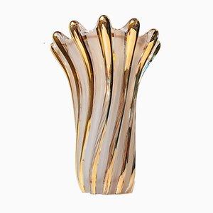 Italienische Murano Glas Vase mit Goldglasur, 1960er