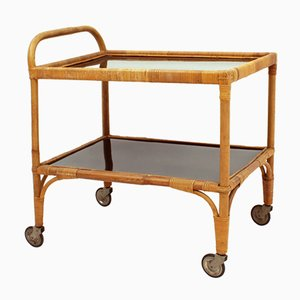 Rattan & Bamboo Serving Trolley, 1950s