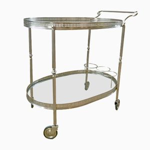 Vintage Bar Trolley in Silver Metal