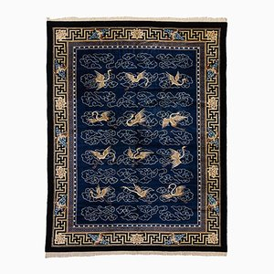 Chinese Hand-Knotted Rug in Blue & White, 1920s