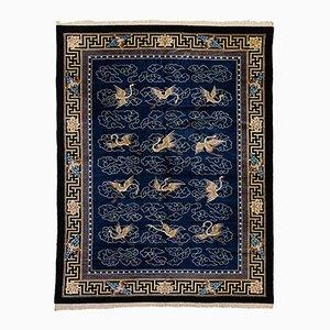 Tapis Fait Main Bleu & Blanc, Chine, 1920s