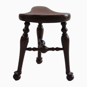 Antique 3-Legged Walnut Saddle Stool