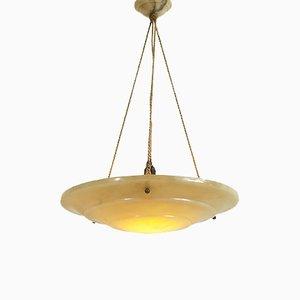 Lámpara colgante francesa Art Déco grande de alabastro, años 30