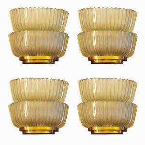 Double Sconces from Seguso, 1940s, Set of 4