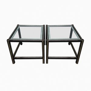 Black-Lacquered Aluminum Side Tables with Gilt Details, 1980s, Set of 2