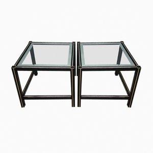Mesas auxiliares de aluminio lacado en negro con detalles dorados, años 80. Juego de 2