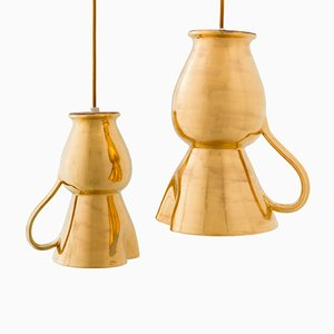 Lampes à Suspension Dorées par Marco Rocco, Set de 2