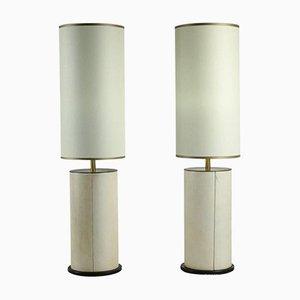 Parchment & Bronze Table Lamps, 1940s, Set of 2