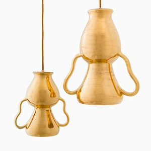 Golden Pendant Lamps by Marco Rocco, Set of 2