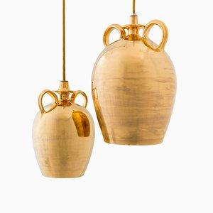 Lámparas colgantes doradas de Marco Rosso. Juego de 2