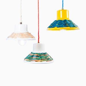 Lampes à Suspension en Osier par Marco Rocco, Set de 3