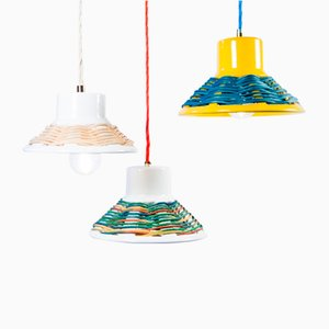 Wicker Pendant Lamps by Marco Rocco, Set of 3