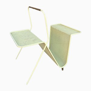 Vintage Light Yellow Magazine Rack by Mathieu Matégot for Atelier Matégot