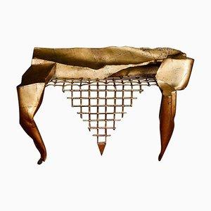 Table Console Vintage en Fer Forgé avec Feuille d'Or par Jean-Jacques Argueyrolles