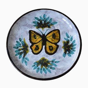 Centro de mesa o vide poche de cerámica con mariposa