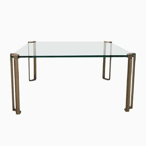 Table Basse en Verre & Laiton par Peter Ghyczy, 1970s