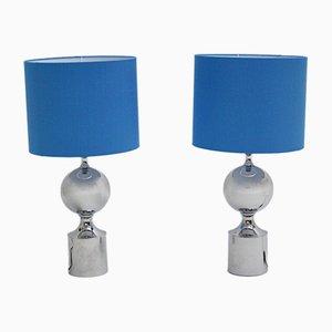 Lámparas de mesa de metal cromado, años 60. Juego de 2